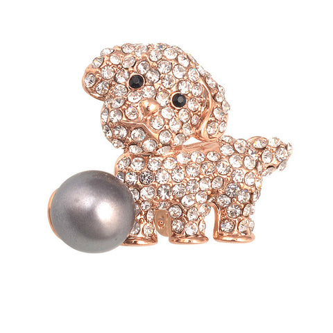 cute rhinestone crystal dog with pearl brooch pin for women