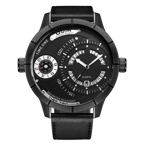 unique design big two time zone quartz watch for men