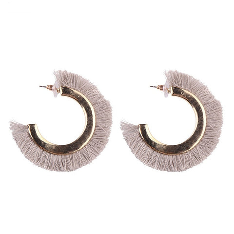 trendy round fringed tassel stud earrings for women