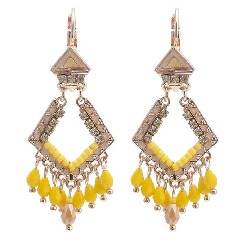 bohemian rhinestone beads tassel drop earrings for women