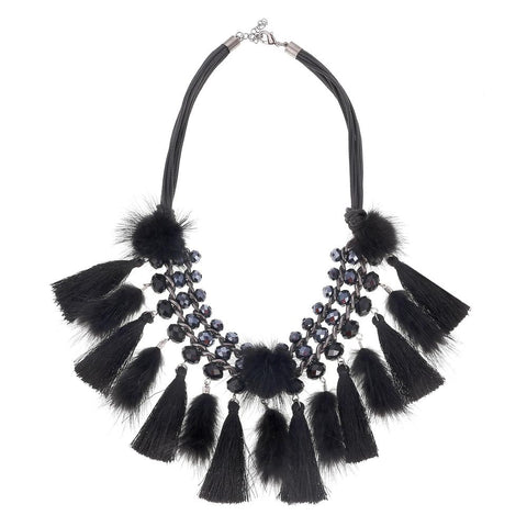 bohemian cotton tassel choker statement necklace for women