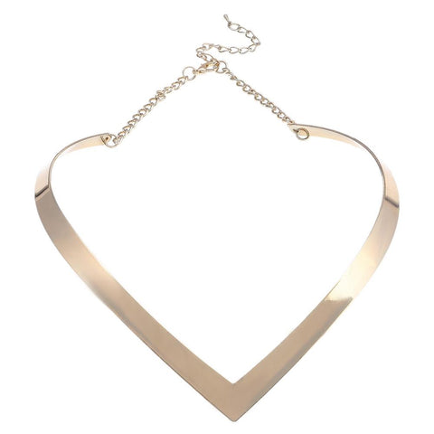 golden simple metal weld bib choker necklace for women