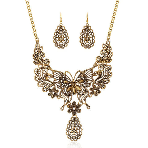 vintage hollow metal butterfly statement jewelry set for women
