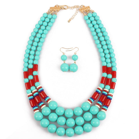 vintage big multilayer beads statement jewelry set for women