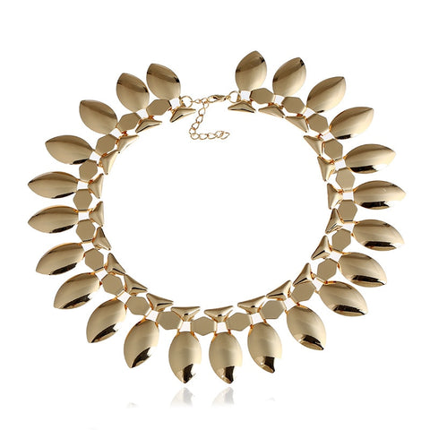 punk plated leaves tassel statement necklace for women