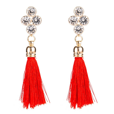 vintage crystal weaving long tassel drop earrings for women