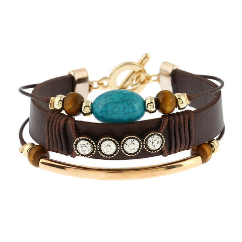 ethnic style multilayer leather & beads bracelet