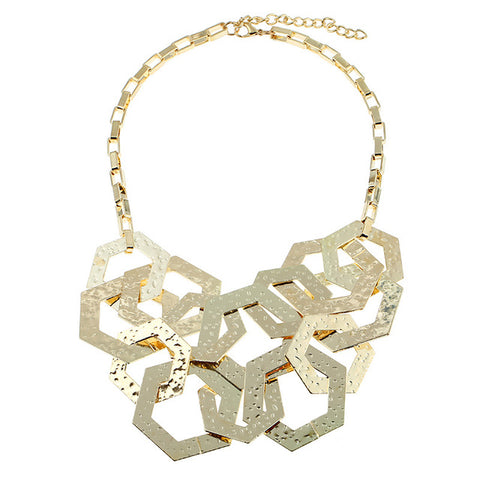 geometry long chain metal choker statement necklace for women