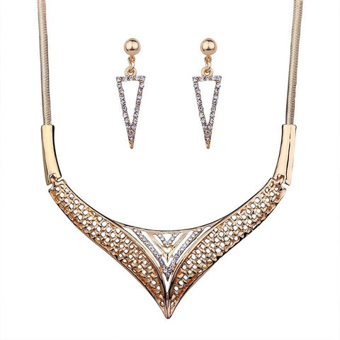 luxury metal & crystal statement jewelry set for women