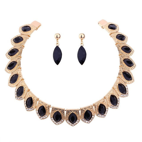 luxury crystal mosaic statement jewelry set for women