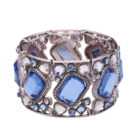 vintage silver color hollow out crystal mosaic bracelet for women