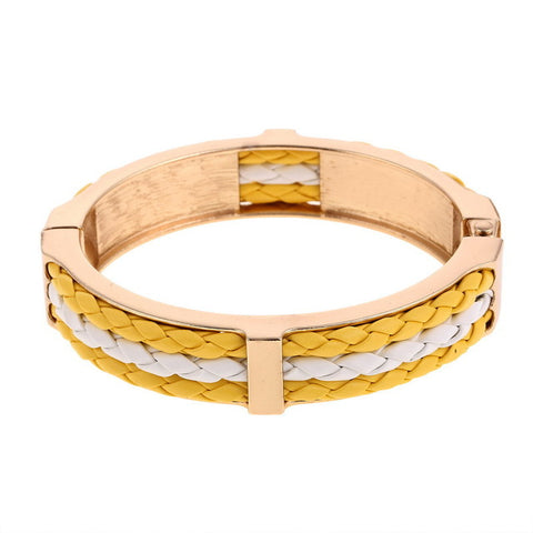 punk style leather rope smooth cuff bracelet for women