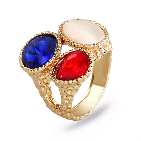 trendy tricolor crystal stones gold color ring for women