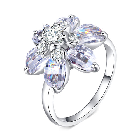 trendy silver color clear cz crystal flower design ring for women