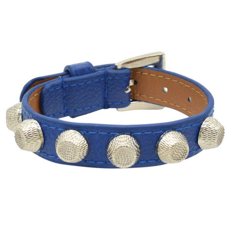 punk flat head rivet buckle blue leather bracelet for women