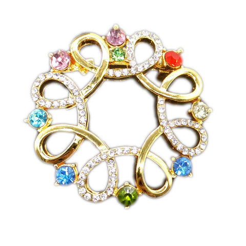 multicolor hollow flower crystal brooch pin for women