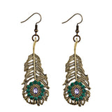 vintage golden feather & rainstone drop earrings for women