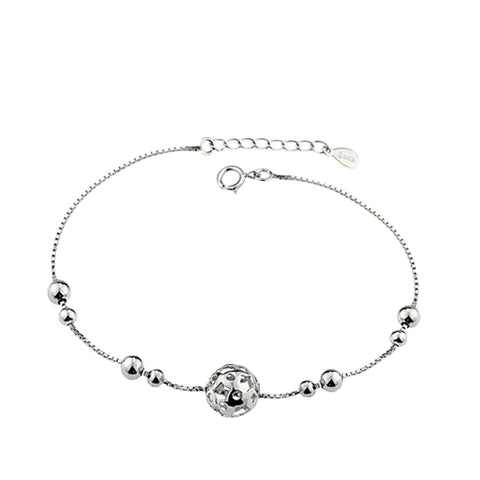 simple silver color hollow ball charm bracelet for women
