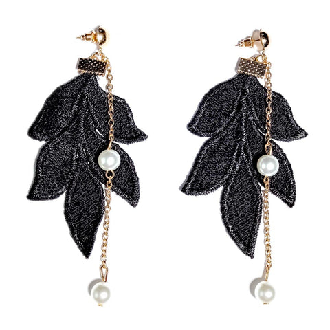 elegant lace leaf long chain crystal earrings for women
