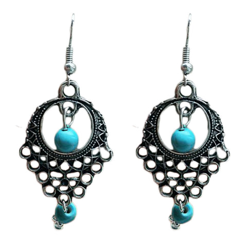 ethnic hollow pattern & blue stone beads drop earrings for women