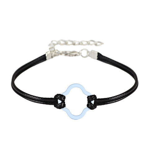simple pu leather and hollow charm bracelet for women