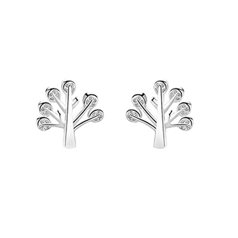 cute silver color tiny tree stud earrings for women