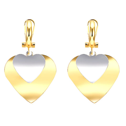 romantic double heart shape metal earrings for women