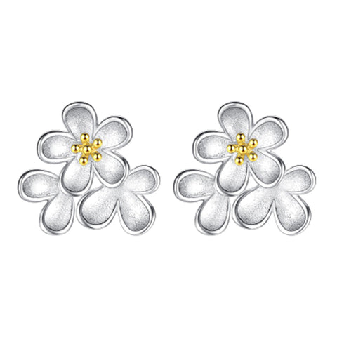 cute sliver color daisy flower small stud earrings for women