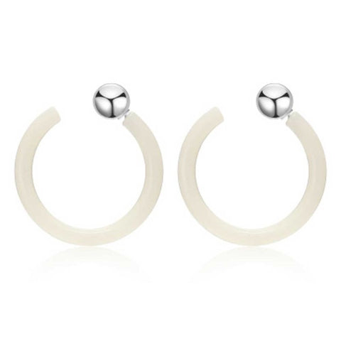 trendy open round acrylic stud earrings for women