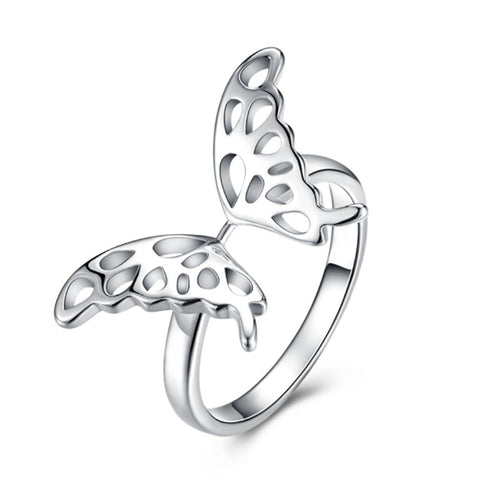 silver plated hollow butterfly shape ring for women