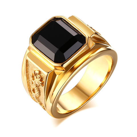 cool gold color engraved dragon big rhinestone ring for men