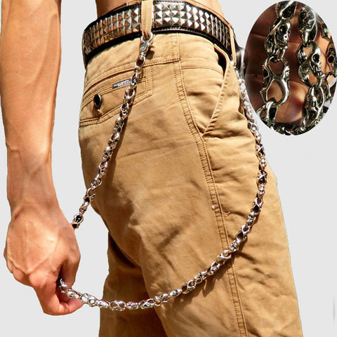 cool skull shape biker wallet chain metal key chain for men
