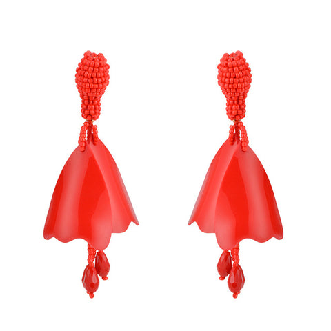 trendy acrylic flower with beads drop earrings for women