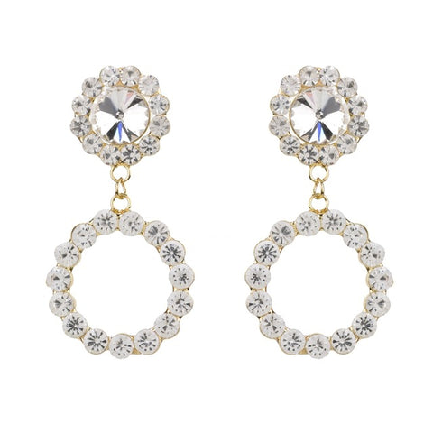 trendy clear crystal circle & flower drop earrings for women