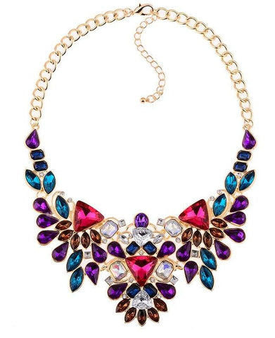luxury colorful crystal flower tassel statement necklace for women