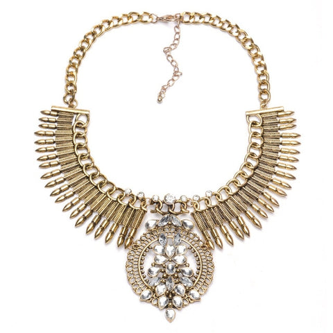vintage carved metal & crystal statement necklace for women