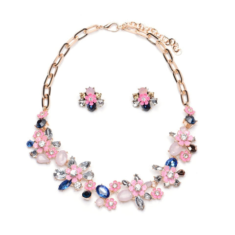 romantic blossom flower crystal jewelry set for women