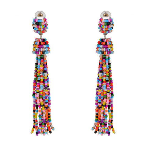 cute handmade colorful beads long tassel drop earrings for women