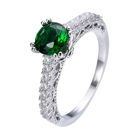 elegant green stone & pave cz crystal ring for women