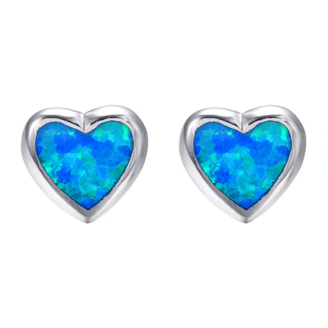 trendy blue fire opal heart stud earrings for women