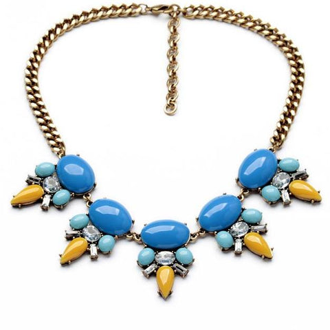 trendy blue resin tassel statement necklace for women