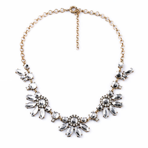 vintage antique color resin flower statement necklace for women