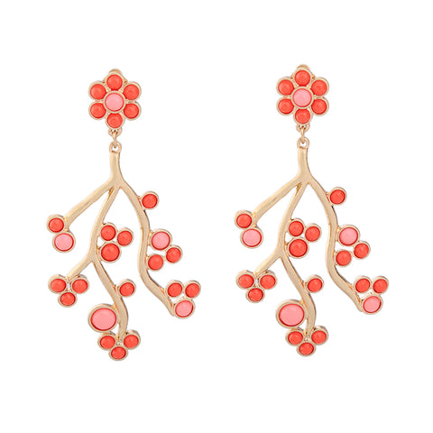 trendy acrylic branch shape big drop earrings for women