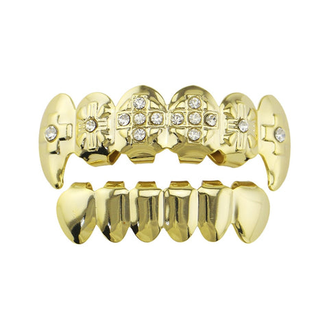 hip hop vampire fang iced out rhinestone top teeth grillz