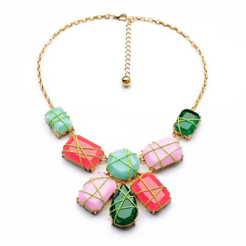 elegant resin square pendant statement necklace for women