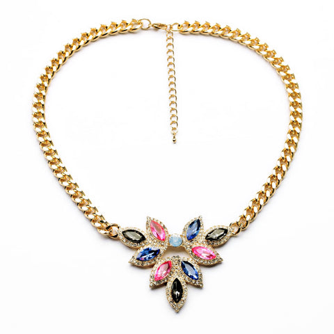 elegant resin stone flower pendant statement necklace for women
