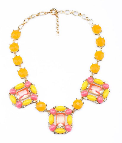 cute square acrylic beads statement necklace for women