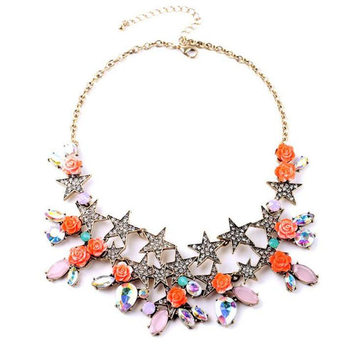 trendy crystal star tassel statement necklace for women