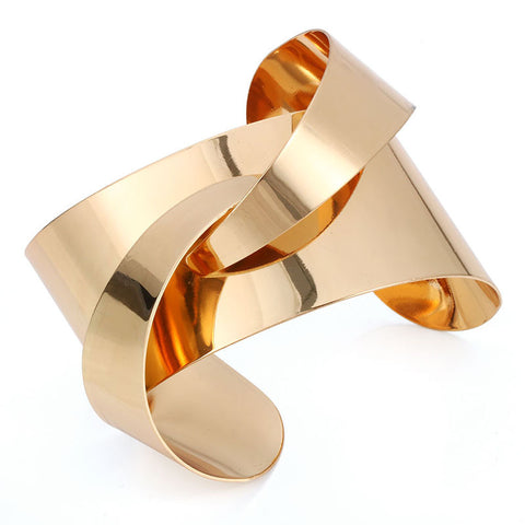 punk gold/silver color smooth cuff bracelet for women