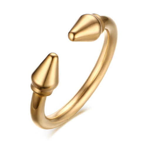 punk style gold color stainless steel bullet shape open ring